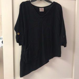 Maria de Guadalajara Black Asymmetrical Top, Small
